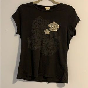 Old Navy | Black t-shirt with sequins flower